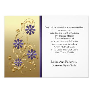 Gold with Purple Flowers Reception Only