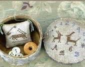 Primitive Folk Art Cross Stitch Pattern  TWO HARES Sampler Sewing Box and Needle Keep