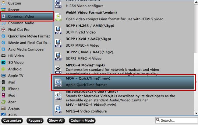 Choose Quicktime MOV Format
