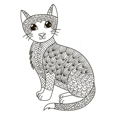 zentangle cat  coloring page shirt design logo