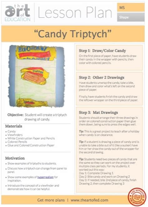 candy triptych drawing  lesson plan