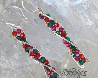 DNA Earrings Sterling Silver Dangle Rainbow Crystal Handcrafted Recycled Silver