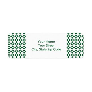 White and Green Diamond Pattern address label