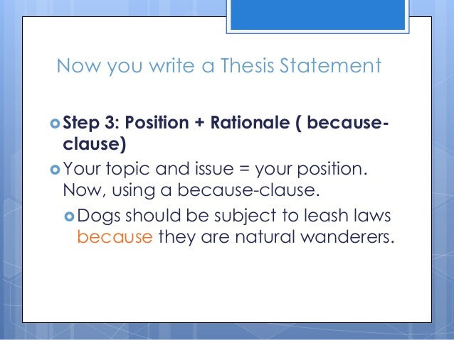 writing a thesis statement middle school ppt
