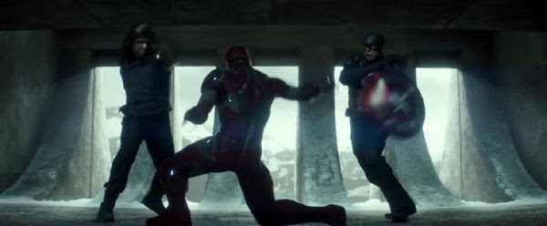Bucky and Captain America team up to fight Iron Man in CAPTAIN AMERICA: CIVIL WAR.