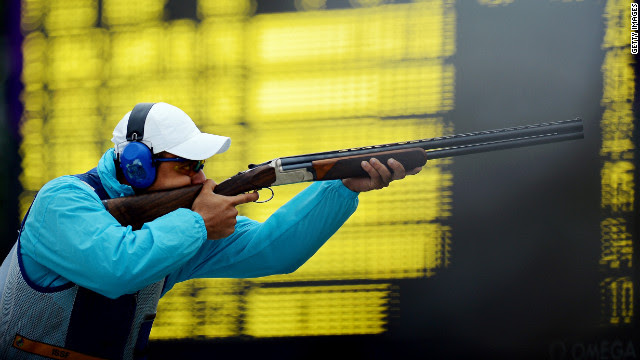 Azmy Mehelba of Egypt competes in the men's skeet qualification round Tuesday at the Royal Artillery Barracks.