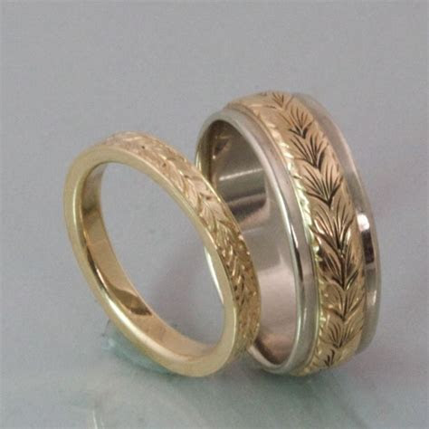 2mm Wheat Leaf Engraved Band   Engraved Wedding Bands in