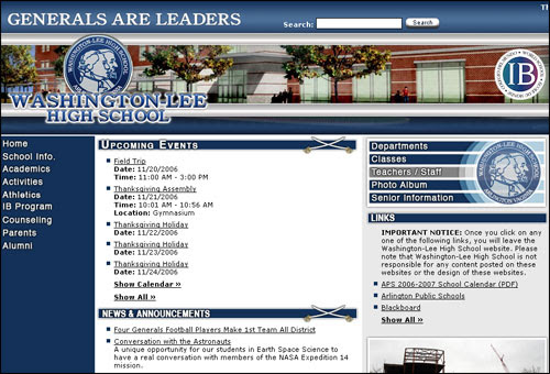 Washington Lee High School Web Page screenshot