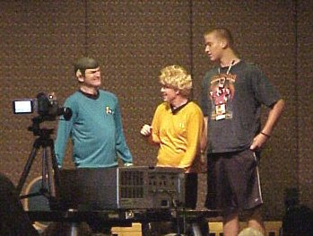 Dean Haglund as Spock, Gary Jones as Kirk, and an audience member as McCoy