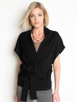 Women: Short-sleeve belted cardigan - Black