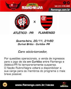 Vendas Suspensas Ingressos Flamengo  (Foto: Reprodução )
