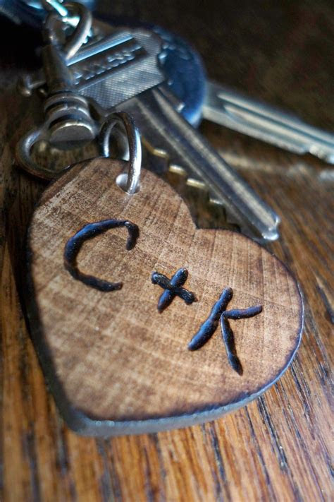 personalized small wood heart keychain gift