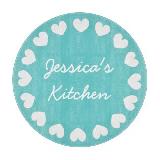 Personalized glass cutting board | Turquoise heart