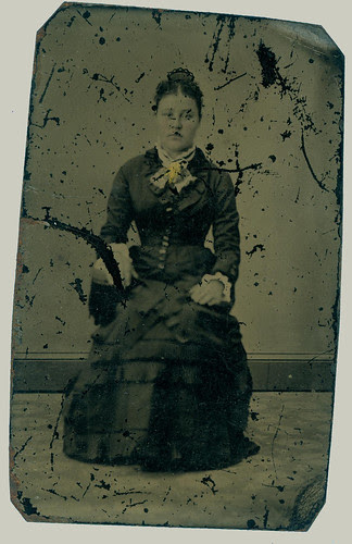Tintype woman in chair