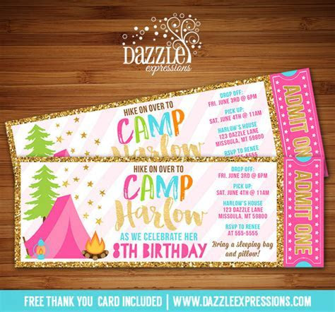 Printable Gold Glitter Glamping Ticket Birthday Invitation