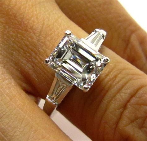 3.01ct Estate Vintage Emerald Cut Diamond with 2 Baguettes