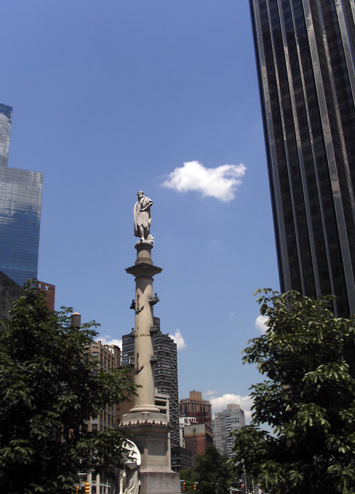 cloud with Columbus statue at Columbus Circle, Manhattan, NYC