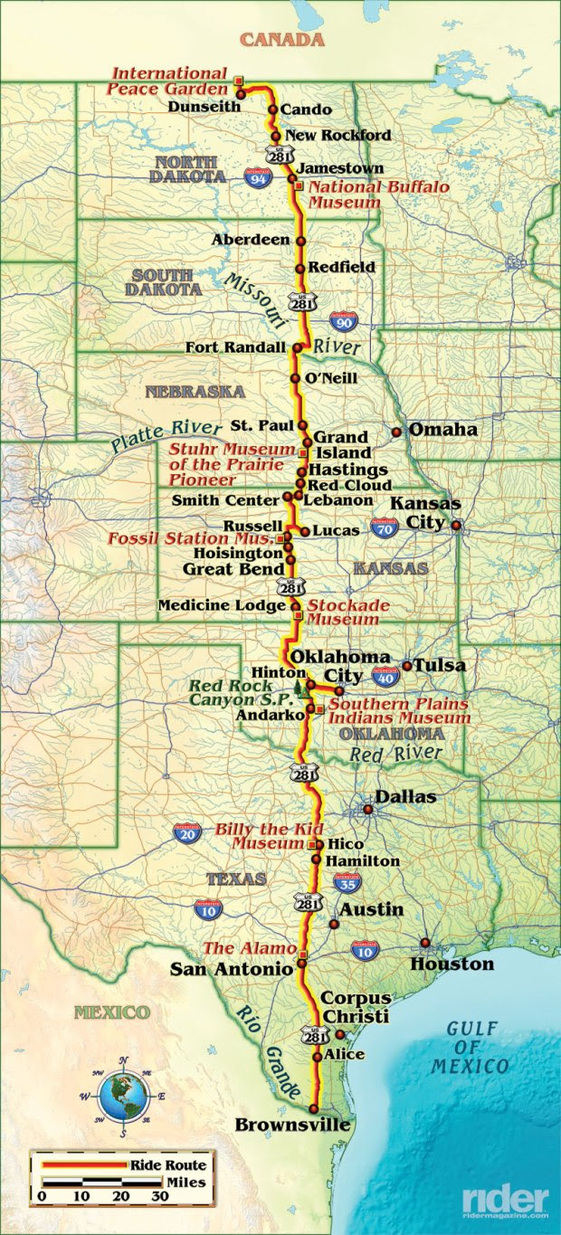 U.S. Route 281 is the only continuous three-digit U.S. Route to extend from the Canadian border to Mexico. (Map by Bill Tipton/compartmaps.com)