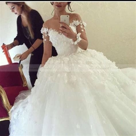Popular Wedding Dress Puffy With Long Lace Sleeve Buy