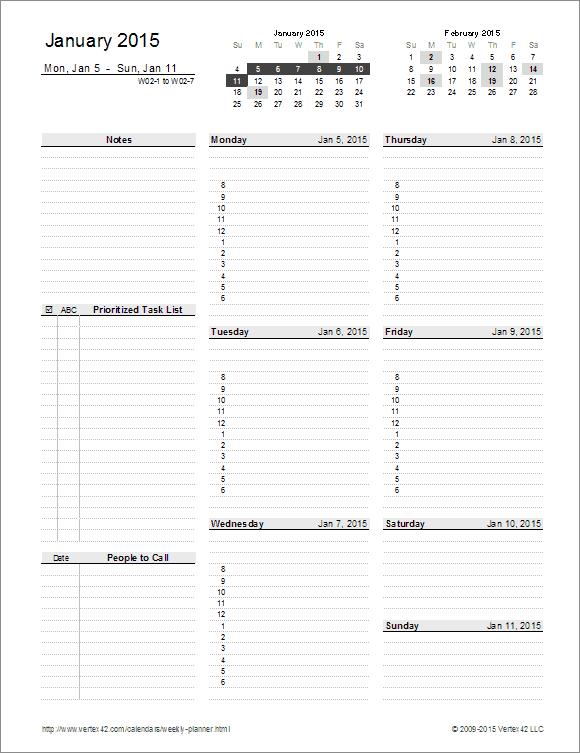 Weekly Planner Template - Free Printable Weekly Planner for Excel