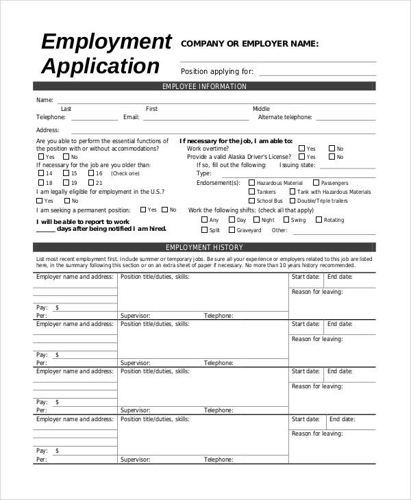 8 Sample Employee Applications Sample Templates