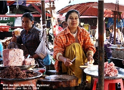 Interesting goods and produce, Wet Markets, Myitkyina, Myanmar unlike Singapore's Wet Markets. Asiahomes.com
