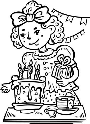 Dibujo De Niña En Su Fiesta De Cumpleaños Para Colorear Dibujos