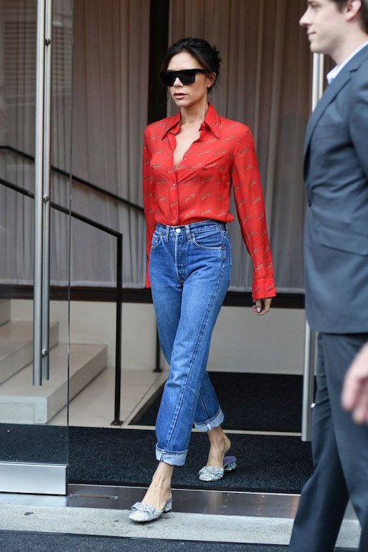 Le Fashion Blog Victoria Beckham Style Red Blouse Sunglasses Vintage High Waisted Jeans Sparkling Glitter Mules Via Vogue