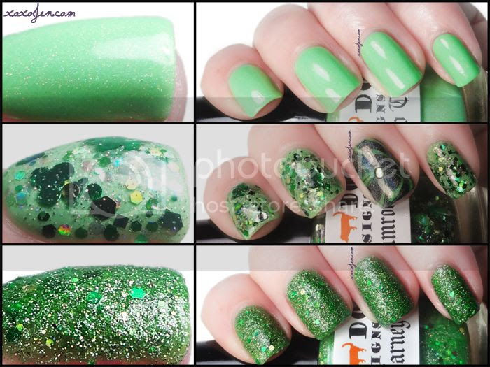 xoxoJen's collage of St. Patrick's Day polishes
