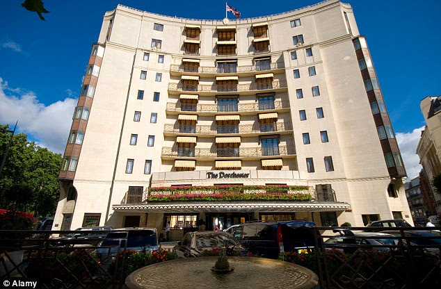 Too much: The luxurious Dorchester was apparently disrupted by fans, some of which even apparently wrote graffiti inside one of the lifts