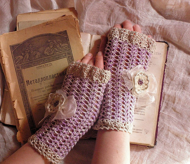 Crocheted beaded decorated fingerless gloves