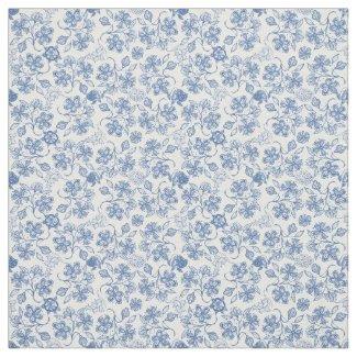 Pretty Indigo Blue Ethnic Floral Print Fabric
