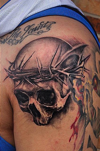 Cap1 Tattoos Tattoos Black And Gray Black And Grey Skull Tattoo