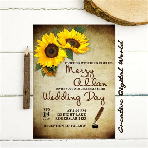 22  Sunflower Wedding Invitation Templates ? PSD, AI, Word