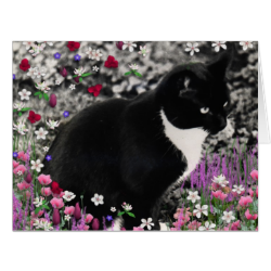 Freckles in Flowers II, Tuxedo Kitty Cat Large Greeting Card