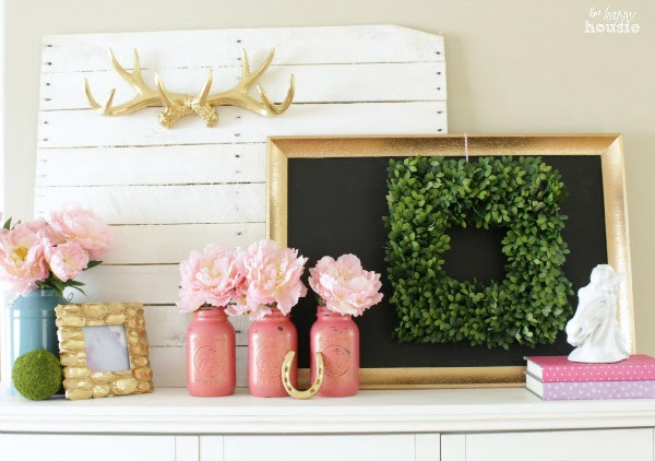 Pastel & Gold Spring Mantel with Balsam Hill Boxwood Wreath at The Happy Housie 2
