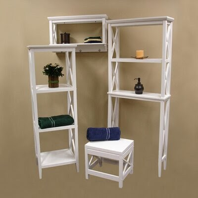 X Frame 4 Piece Bathroom Furniture Set Bathroom Shelves