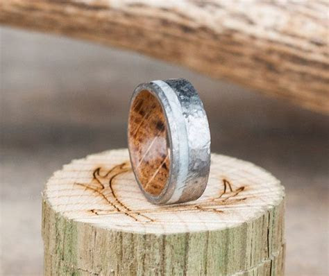 Mens Wedding Band Whiskey Barrel Lined Ring w/ by