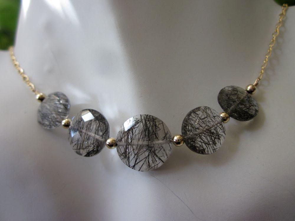 Black Rutilated Quartz Coins, Swarovski Crystals, 14 Karat Gold Fill-Golden Moon Necklace