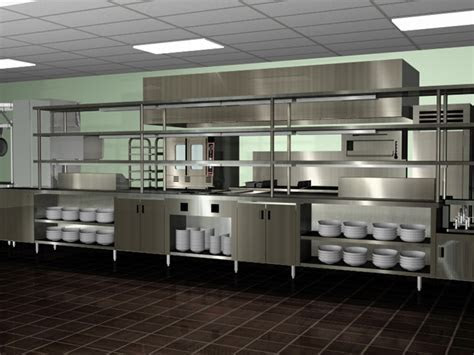 Amazing Modern Spacious Commercial Kitchen Design Chrome Color Design   Viahouse.Com