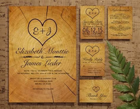 Tree Ring Wedding Invitation Set/Suite, Invites, Save The