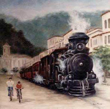 pintura de una locomotora a vapor