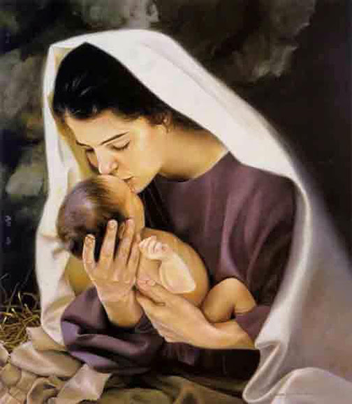 [Drawing of Mary cuddling the baby Jesus]