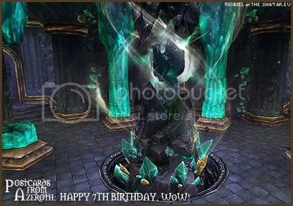Rioriel's daily World of Warcraft screenshot presentation of significant locations, players, memorable characters and events taken on the European roleplaying server The Sha'tar, assembled in the style of a postcard series. -- Postcards of Azeroth: Happy 7th Birthday to World of Warcraft, by Rioriel of theshatar.eu