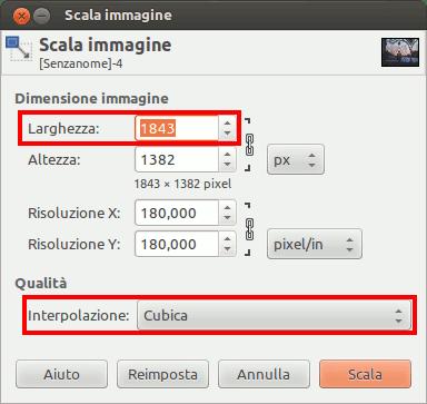Finestra di dialog per scalatura in pixel