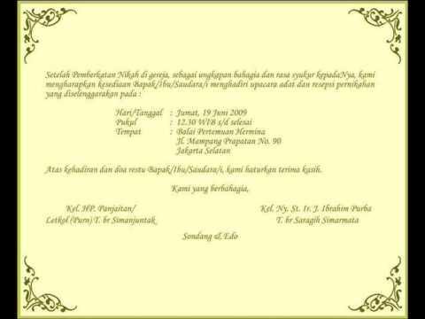 Contoh Undangan Pernikahan Adat Batak Contoh View