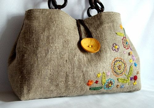 Hand embroidered linen and cotton tote bag-- I need to embroider on some bags!!!
