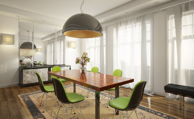 5 lime green chairs white dining room
