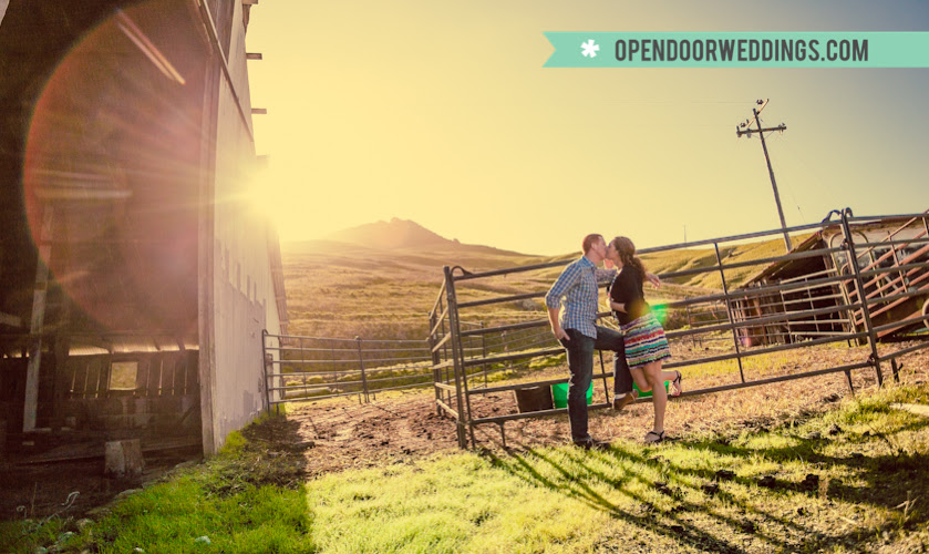 opendoorweddings.com by Open Door Photography Clay Hadick Justin Jacobs San Luis Obispo engagement get to know you barn winery rustic nature green brown forest leaves bridge architecture