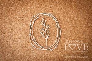 Tekturka - Ramka owalna z liśćmi i rośliną - Soufre